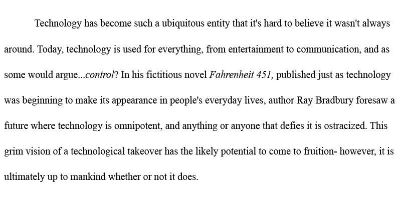 Fahrenheit 451 Essay Thesis